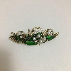 Accessories - Gorgeous Hair Barrette green/gold/pearl
